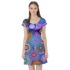 Funky Flowers B Short Sleeve Skater Dress