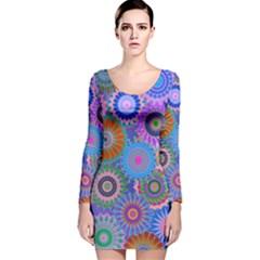 Funky Flowers B Long Sleeve Velvet Bodycon Dress