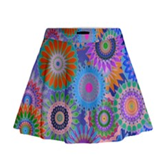 Funky Flowers B Mini Flare Skirt