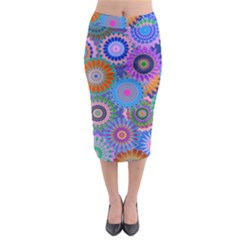 Funky Flowers B Midi Pencil Skirt