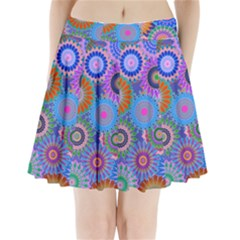 Funky Flowers B Pleated Mini Skirt