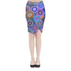 Funky Flowers B Midi Wrap Pencil Skirt