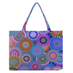Funky Flowers B Medium Zipper Tote Bag