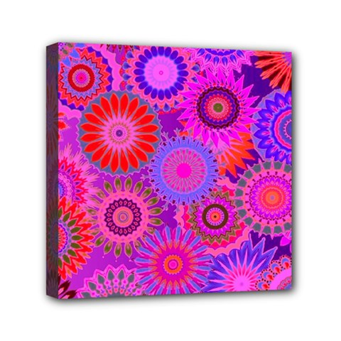 Funky Flowers C Mini Canvas 6  x 6