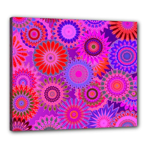 Funky Flowers C Canvas 24  x 20