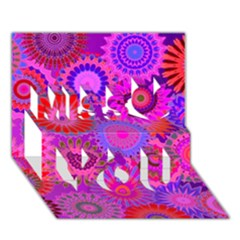 Funky Flowers C Miss You 3d Greeting Card (7x5)