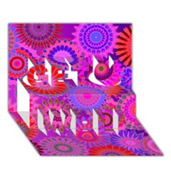 Funky Flowers C Get Well 3D Greeting Card (7x5)