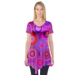 Funky Flowers C Short Sleeve Tunic
