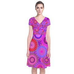 Funky Flowers C Short Sleeve Front Wrap Dress