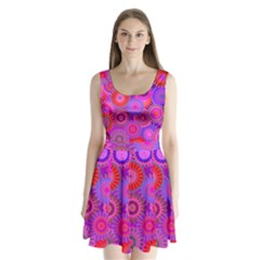 Funky Flowers C Split Back Mini Dress