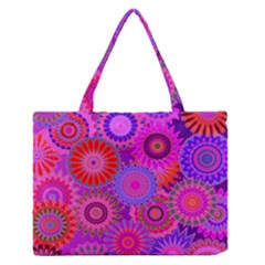 Funky Flowers C Medium Zipper Tote Bag