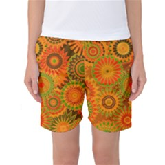 Funky Flowers D Women s Basketball Shorts