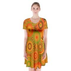 Funky Flowers D Short Sleeve V-neck Flare Dress