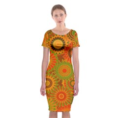 Funky Flowers D Classic Short Sleeve Midi Dress