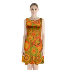 Funky Flowers D Sleeveless Chiffon Waist Tie Dress