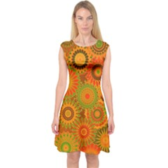 Funky Flowers D Capsleeve Midi Dress