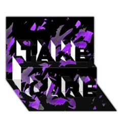 Painter was here - purple TAKE CARE 3D Greeting Card (7x5)