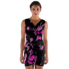 Painter was here - magenta Wrap Front Bodycon Dress