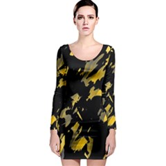 Painter was here - yellow Long Sleeve Bodycon Dress