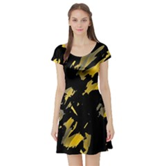 Painter was here - yellow Short Sleeve Skater Dress