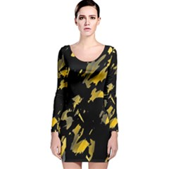 Painter was here - yellow Long Sleeve Velvet Bodycon Dress