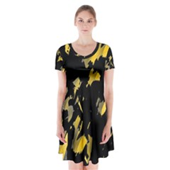 Painter was here - yellow Short Sleeve V-neck Flare Dress