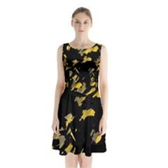 Painter Was Here   Yellow Sleeveless Chiffon Waist Tie Dress