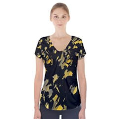 Painter was here - yellow Short Sleeve Front Detail Top