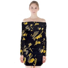Painter Was Here   Yellow Long Sleeve Off Shoulder Dress