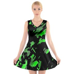 Painter was here - green V-Neck Sleeveless Skater Dress