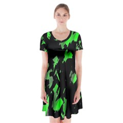 Painter was here - green Short Sleeve V-neck Flare Dress