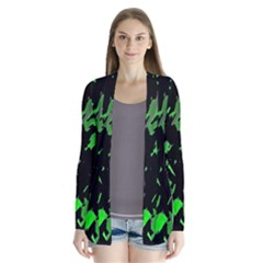 Painter Was Here   Green Drape Collar Cardigan