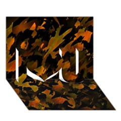 Abstract Autumn  I Love You 3D Greeting Card (7x5)