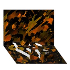 Abstract Autumn  LOVE Bottom 3D Greeting Card (7x5)
