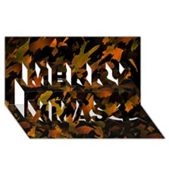 Abstract Autumn  Merry Xmas 3D Greeting Card (8x4)