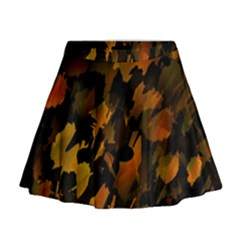 Abstract Autumn  Mini Flare Skirt