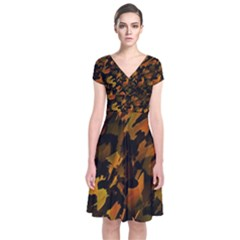 Abstract Autumn  Short Sleeve Front Wrap Dress