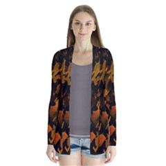 Abstract Autumn  Drape Collar Cardigan