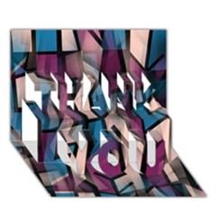 Purple high art THANK YOU 3D Greeting Card (7x5)