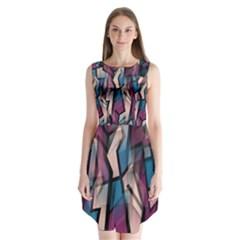 Purple High Art Sleeveless Chiffon Dress