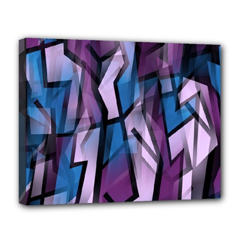 Purple decorative abstract art Canvas 14  x 11