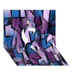 Purple decorative abstract art Ribbon 3D Greeting Card (7x5)