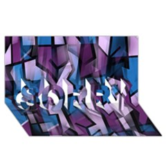 Purple decorative abstract art SORRY 3D Greeting Card (8x4)