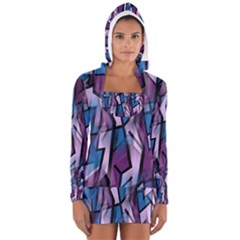 Purple decorative abstract art Women s Long Sleeve Hooded T-shirt