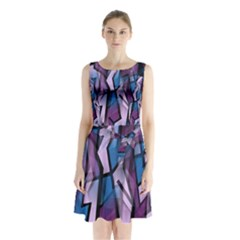 Purple Decorative Abstract Art Sleeveless Chiffon Waist Tie Dress