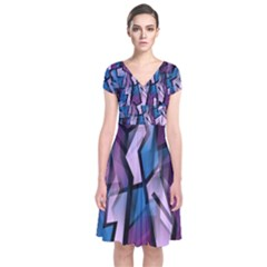 Purple decorative abstract art Short Sleeve Front Wrap Dress