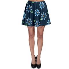 Retro Blue Daisy Flowers Pattern Skater Skirt