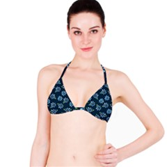 Retro Blue Daisy Flowers Pattern Bikini Top