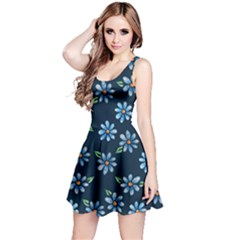 Retro Blue Daisy Flowers Pattern Reversible Sleeveless Dress
