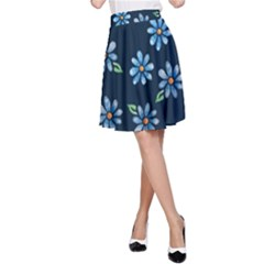 Retro Blue Daisy Flowers Pattern A-Line Skirt